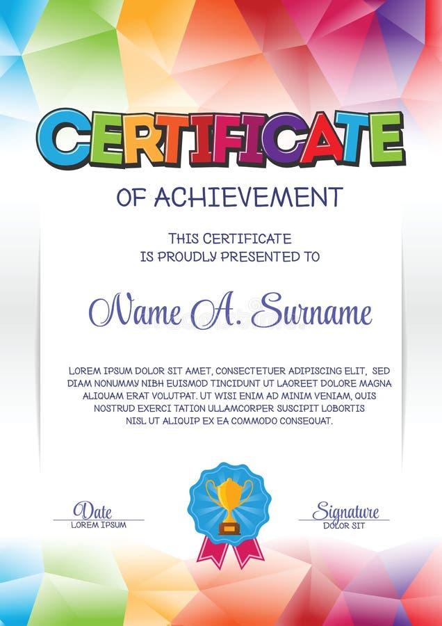 Molde do certificado com quadro colorido para crianças ilustração do vetor