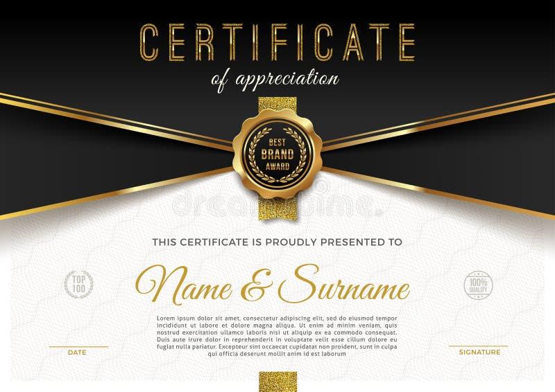 Molde do certificado com teste padrão do guilloche e elementos dourados luxuosos projeto do molde do diploma ilustração do vetor