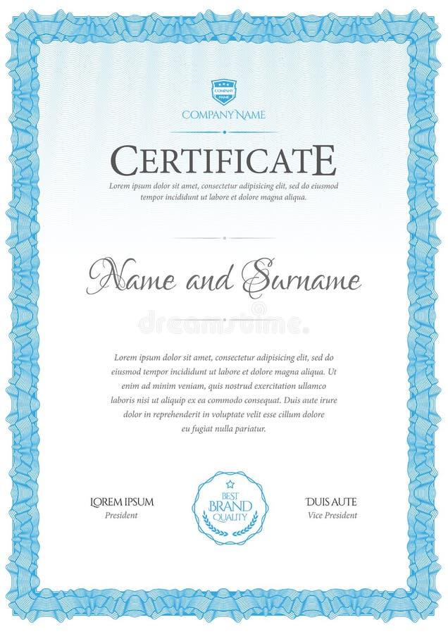Molde do certificado Diploma do projeto moderno ou da vale-oferta ilustração stock