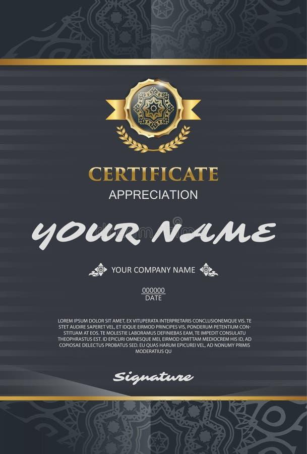Molde do certificado do vetor Elegante e à moda Com o certi ilustração do vetor