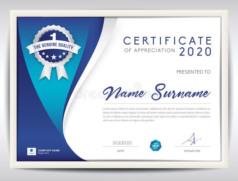 Molde do certificado do vetor, fundo abstrato azul ilustração do vetor