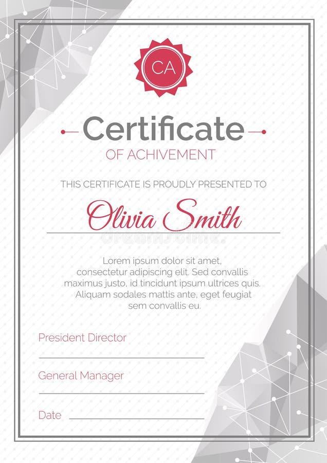 Molde do certificado Estilo poligonal Diploma da ilustração do vetor da conclusão Projeto geométrico abstrato ilustração stock