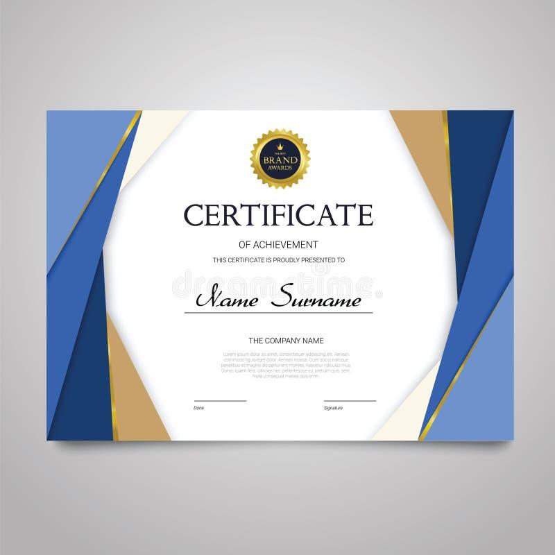 Molde do certificado - original elegante horizontal do vetor ilustração stock