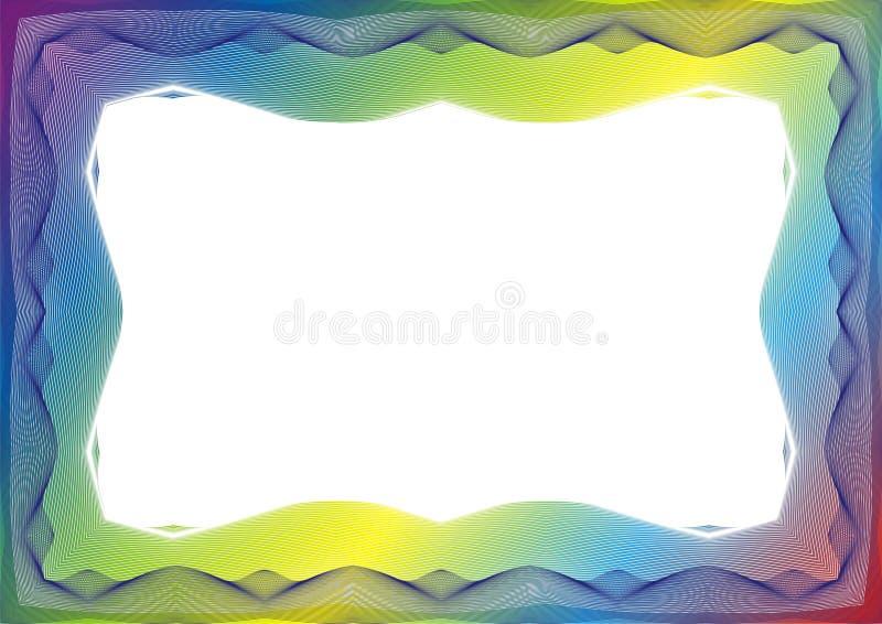 Molde do certificado ou do diploma com quadro do arco-íris ilustração royalty free