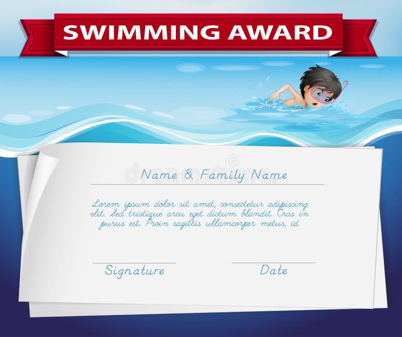 Molde do certificado para a concessão nadadora ilustração do vetor