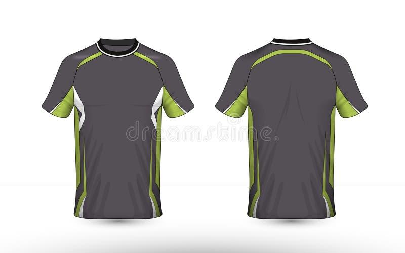 Molde do cinza, o verde e o branco da disposição do e-esporte do t-shirt do projeto ilustração do vetor