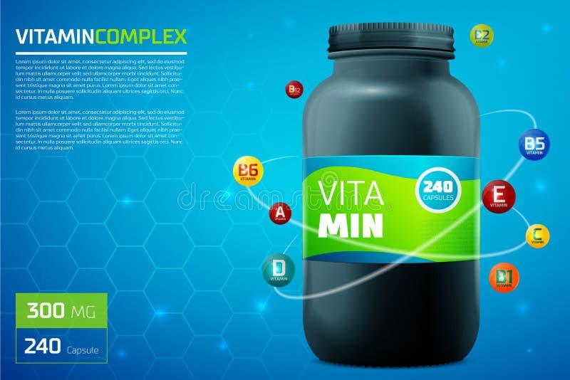Molde do complexo da vitamina ilustração stock