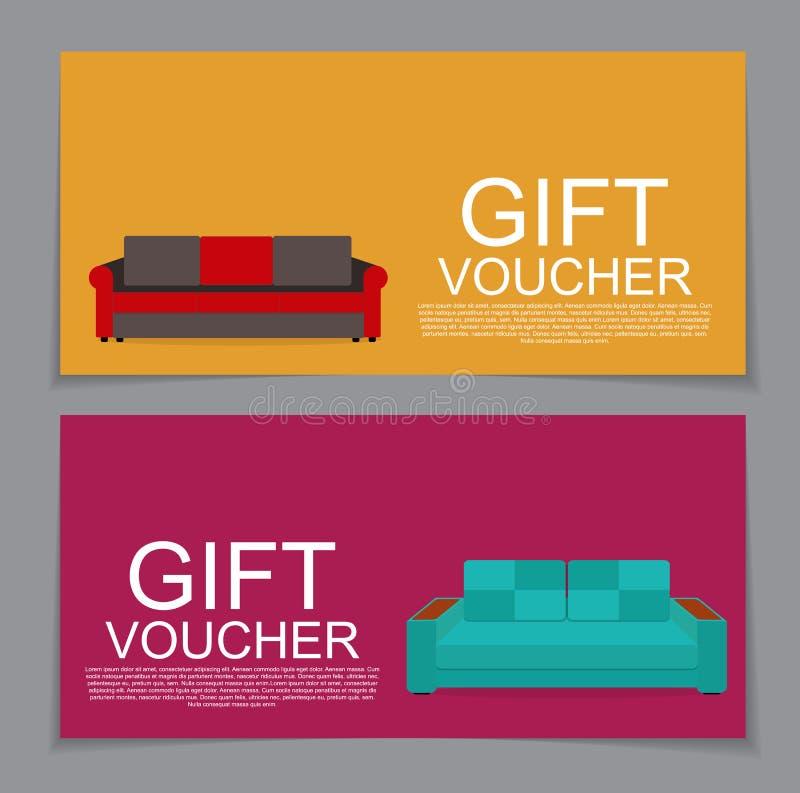 Molde do comprovante de presente com variação de Sofa Discount Coupon Vec ilustração do vetor