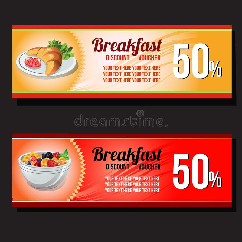 Molde do comprovante do disconto do café da manhã ilustração do vetor