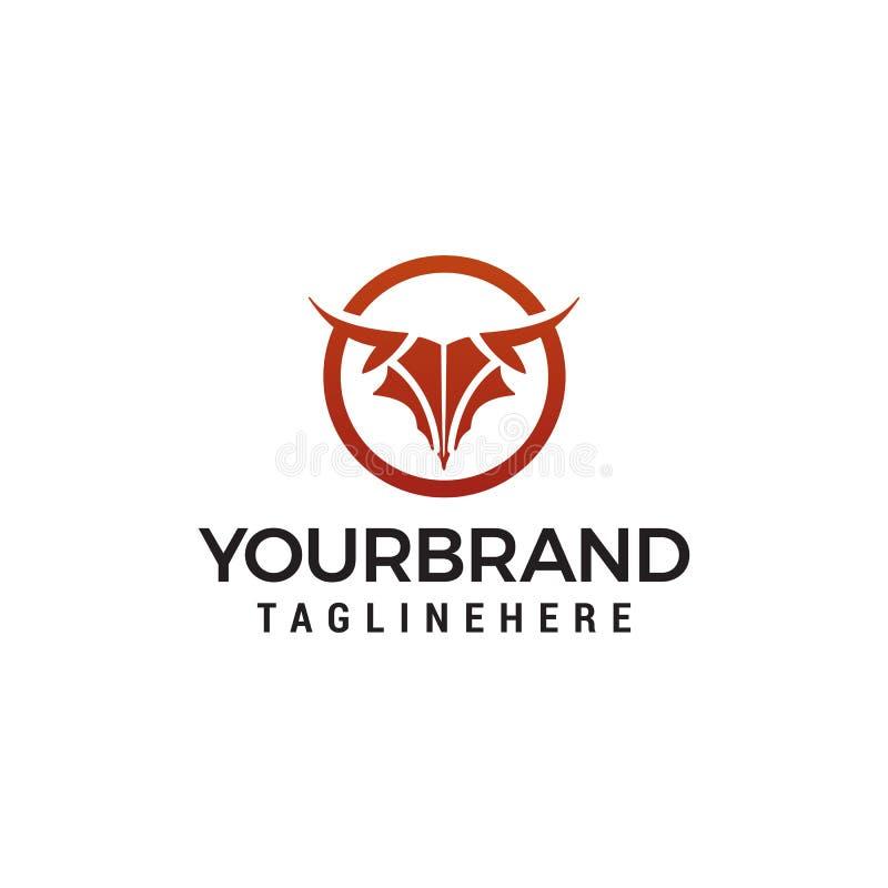Molde do conceito de projeto do logotipo da cabeça de Bull do sumário ilustração do vetor