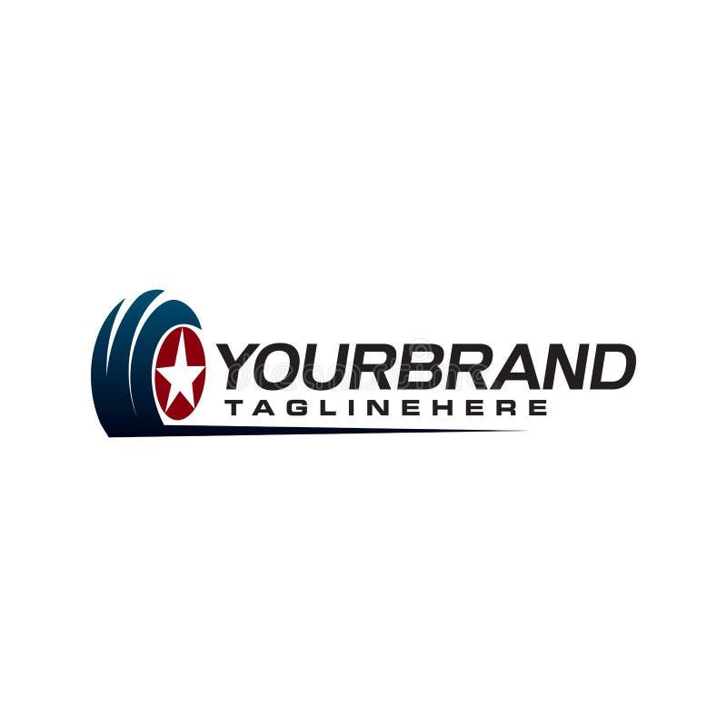 Molde do conceito de projeto do logotipo da estrela do pneu auto ilustração royalty free