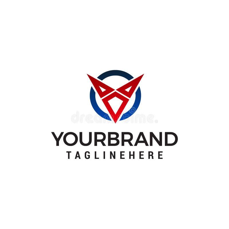 Molde do conceito de projeto do logotipo da letra V ilustração stock