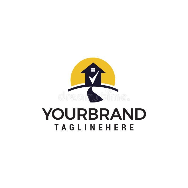Molde do conceito de projeto do logotipo da marca de verifica??o da casa da estrada ilustração do vetor