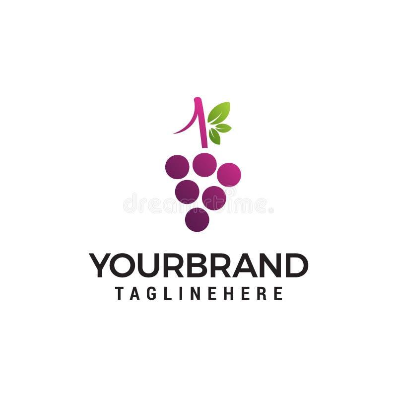 Molde do conceito de projeto do logotipo da uva ilustração stock