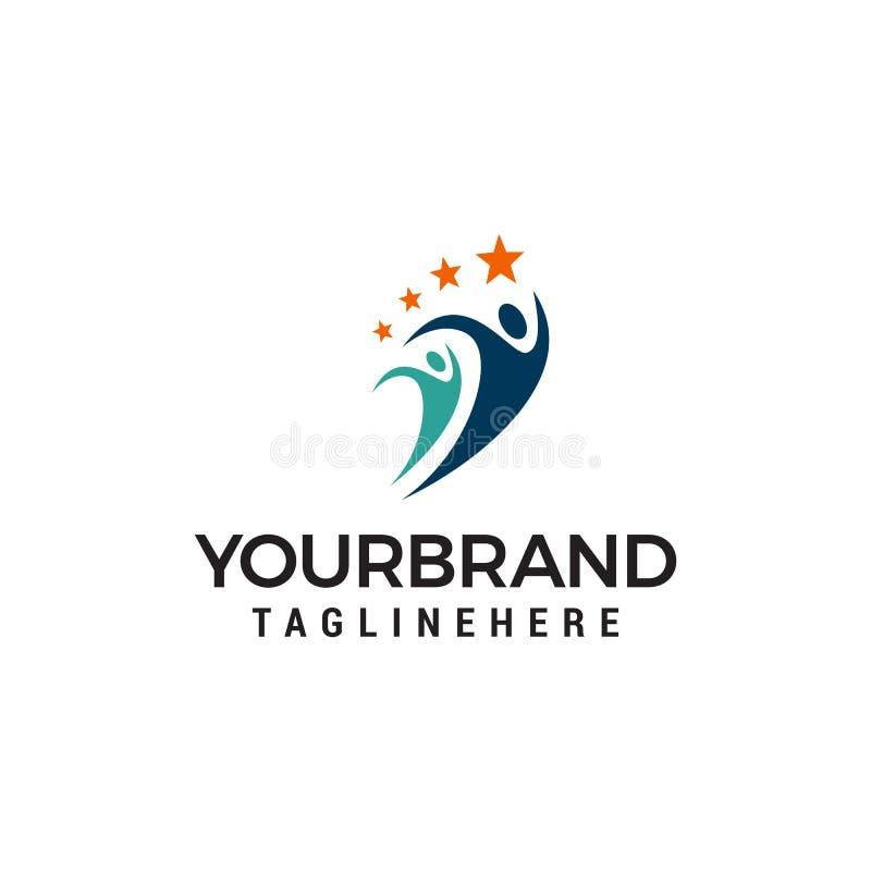 Molde do conceito de projeto do logotipo dos povos do esporte ilustração royalty free