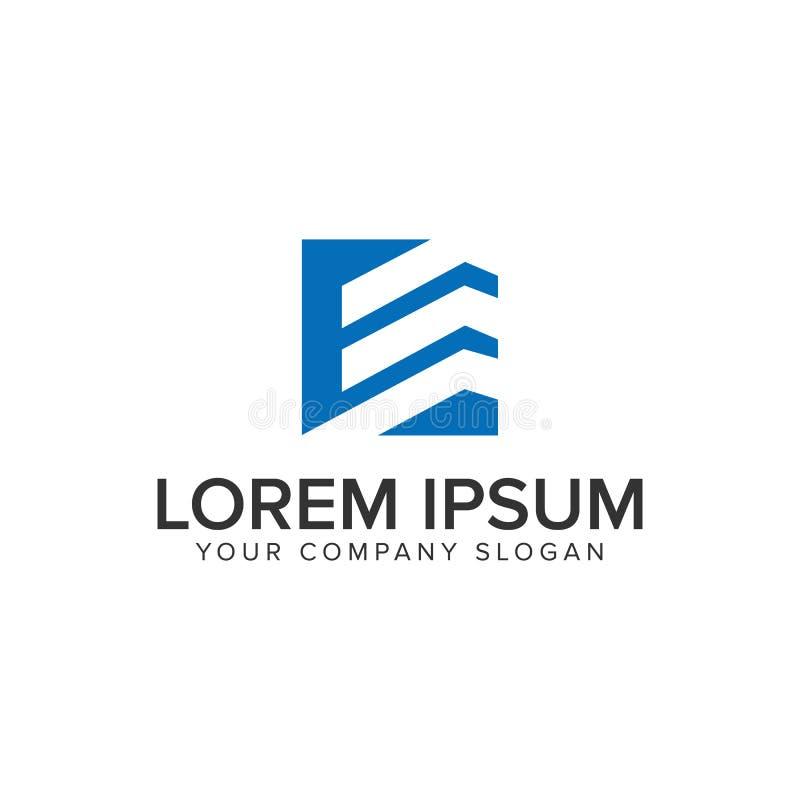 Molde do conceito de projeto do logotipo do quadrado da construção da letra E ilustração stock
