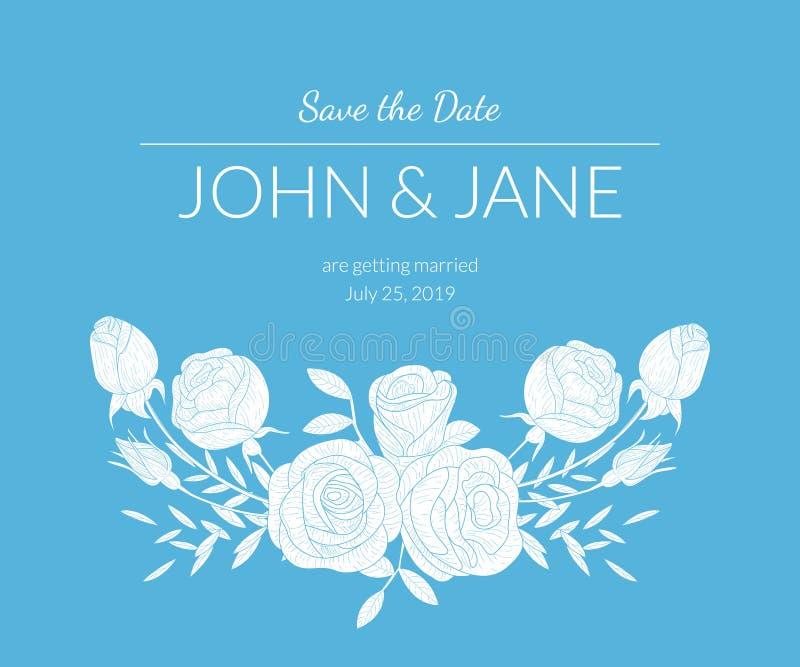 Molde do convite do casamento com o ramalhete das flores e do texto, claro - cartão azul com ilustração floral do vetor dos el ilustração royalty free