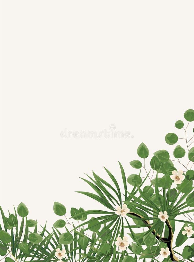 Molde do convite do casamento com peônias, flores e leav verde ilustração do vetor
