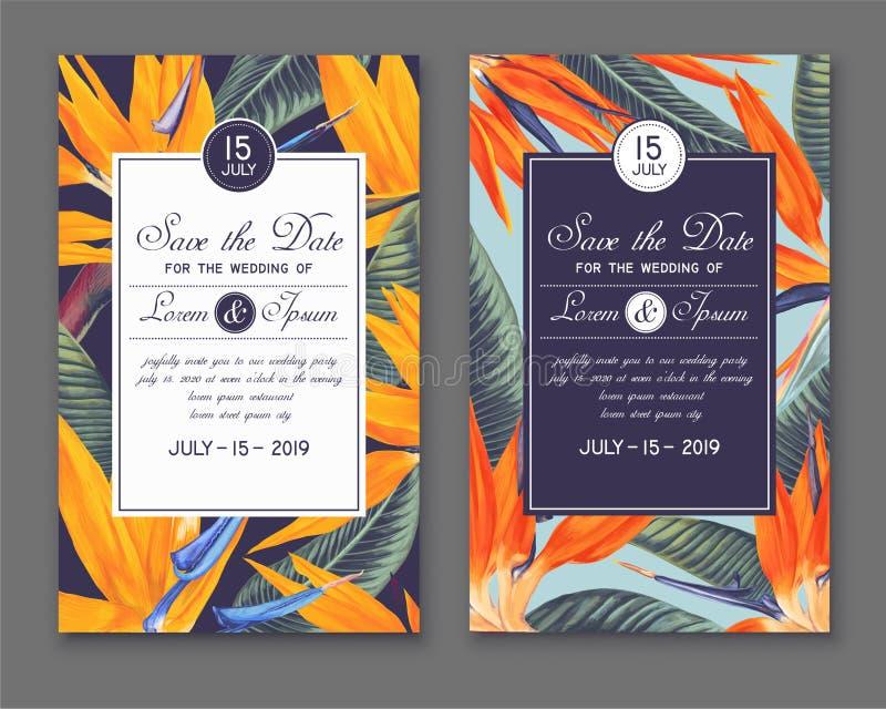 Molde do convite do casamento ou do partido Salvar os cartões de data com Strelitzia Reginae, chamou o pássaro de paraíso ilustração do vetor