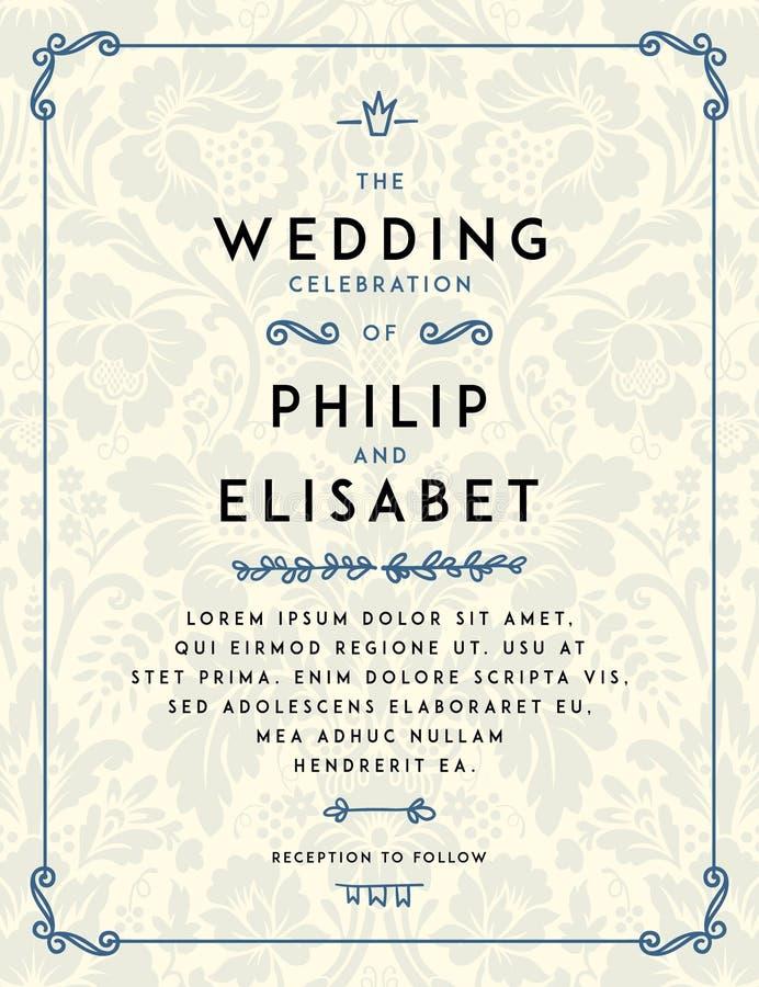Molde do convite do casamento do vintage ilustração do vetor