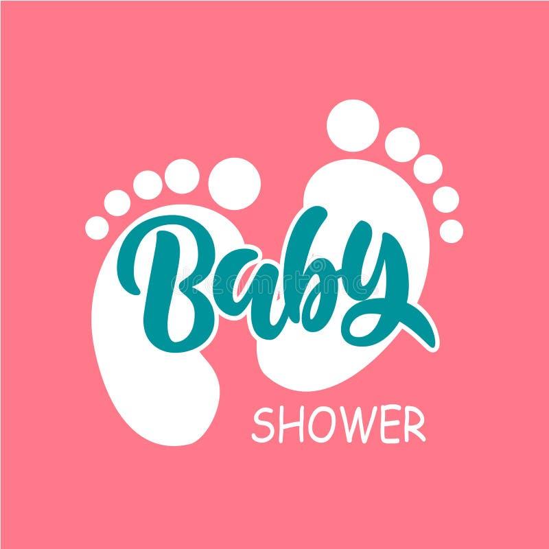 Molde do convite da festa do bebê com rotulação da mão ilustração royalty free