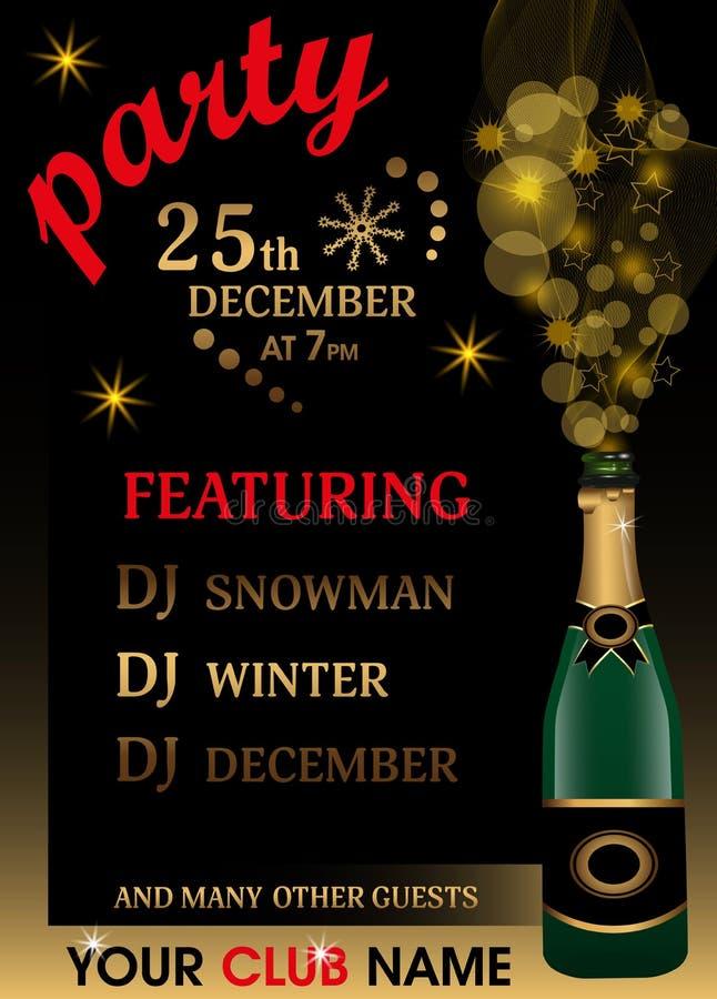 Molde do convite da festa de Natal com garrafa do champanhe e brilho dourado Fundo do ano novo Vetor ilustração royalty free