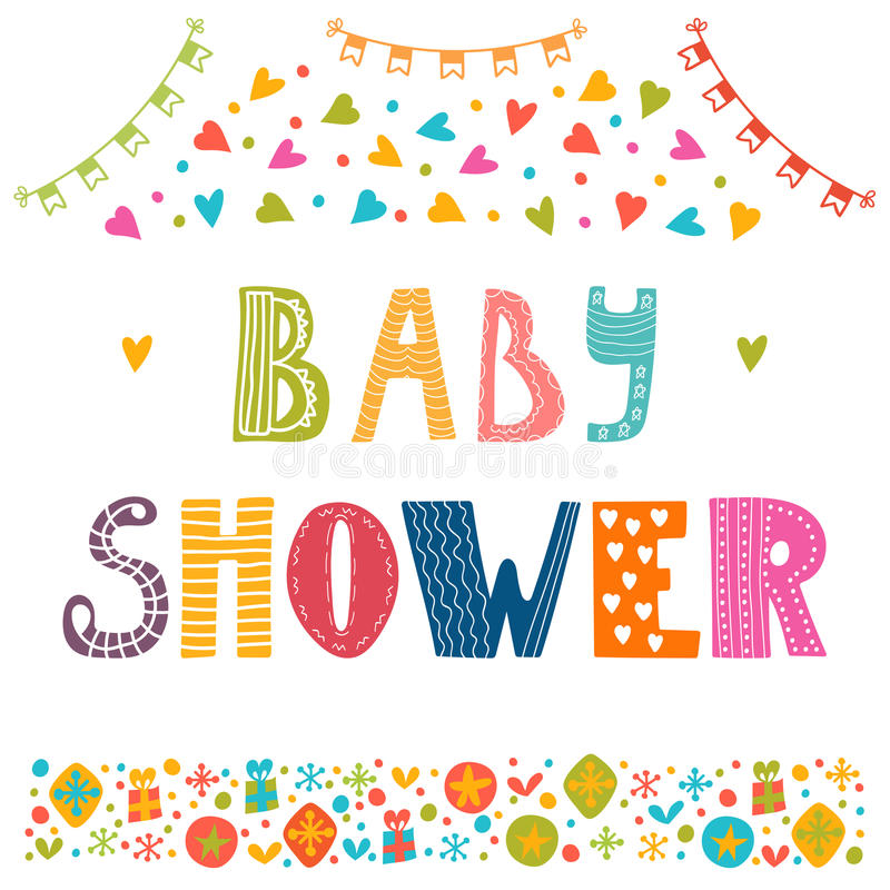 Molde do convite da festa do bebê Cartão bonito ilustração royalty free