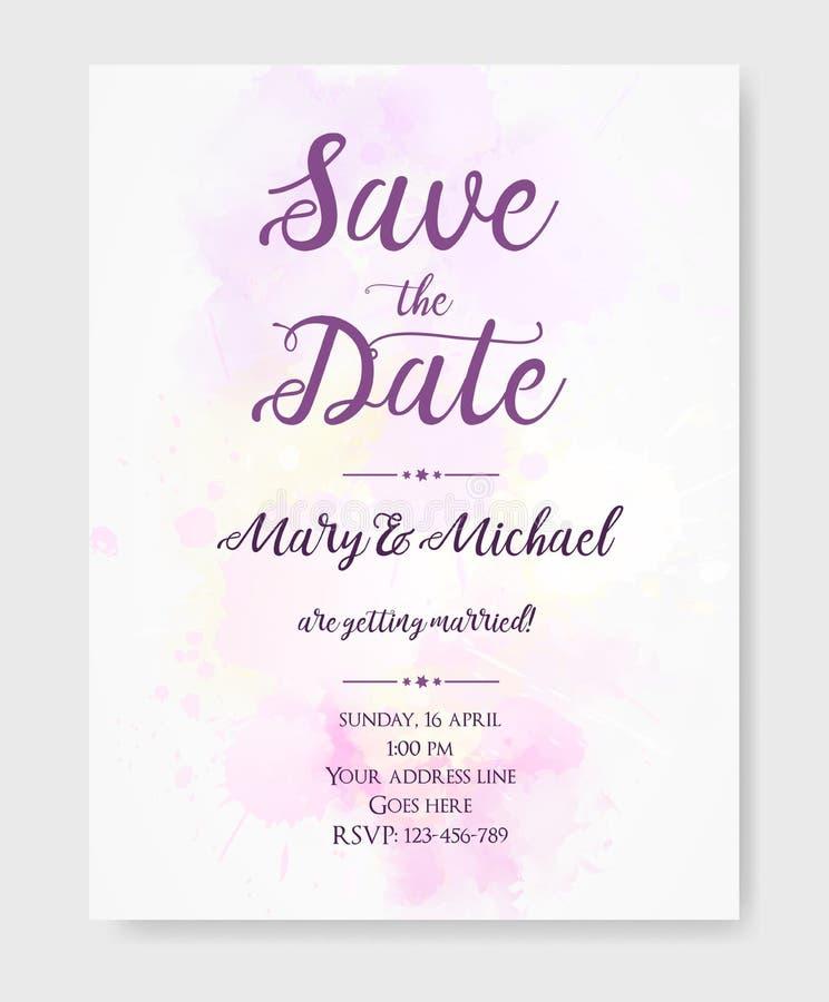 Molde do convite do casamento com manchas da aquarela ilustração royalty free