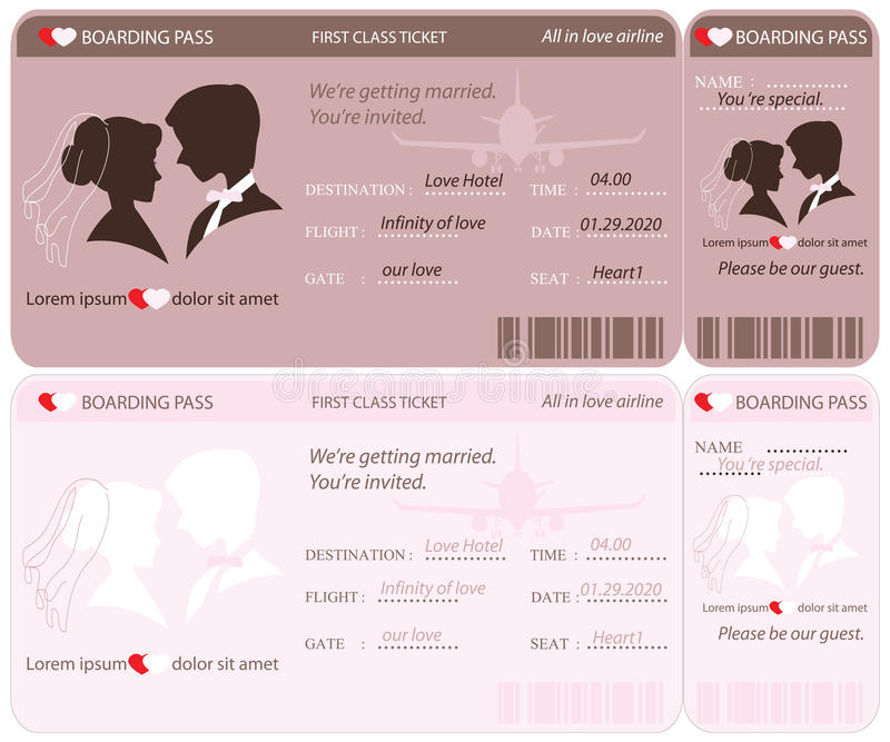 Molde do convite do casamento do bilhete da passagem de embarque ilustração do vetor