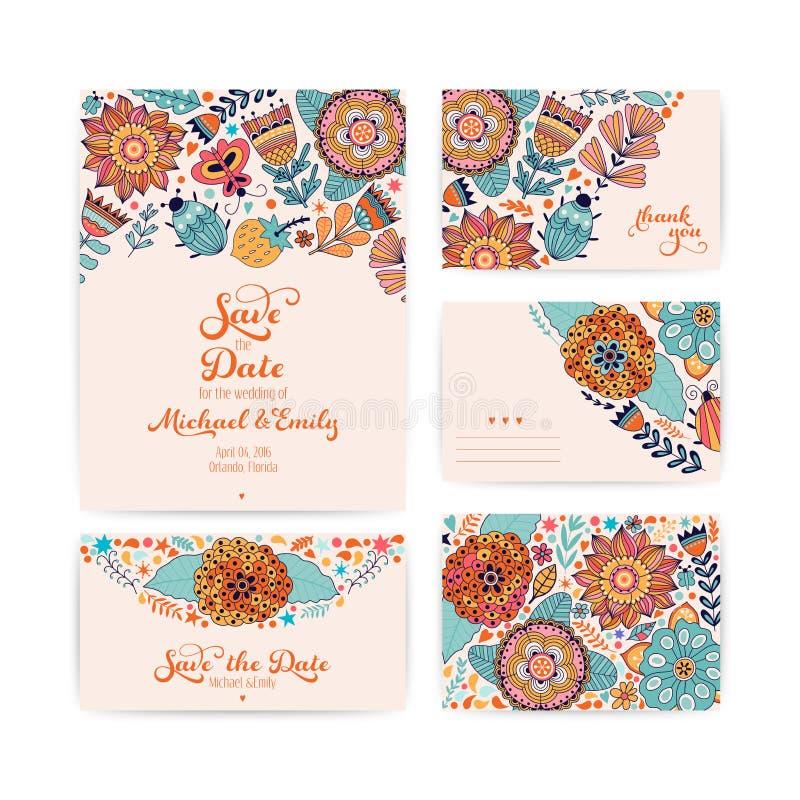 Molde do convite do casamento, envelope, obrigado cardar ilustração stock