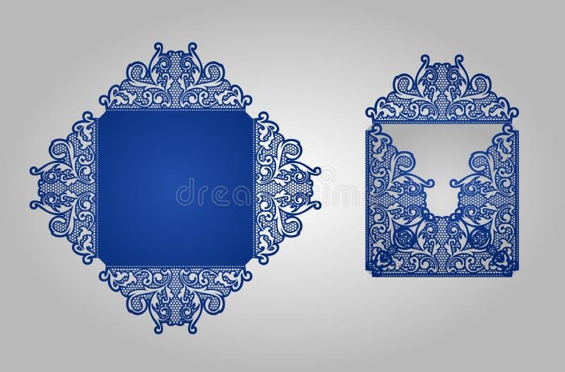 Molde do convite do corte do laser do quadrado ilustração royalty free