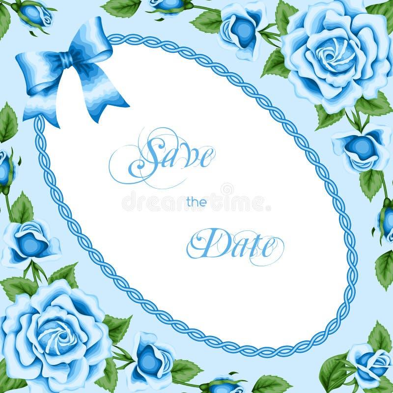 Molde do convite do vintage com rosas ilustração do vetor