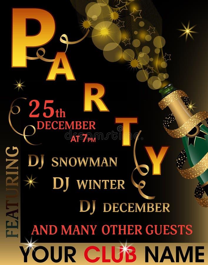 Molde do convite do partido do Natal ou do ano novo Fundo do feriado com a garrafa de Champagne coberta pela fita do ouro com o g ilustração do vetor