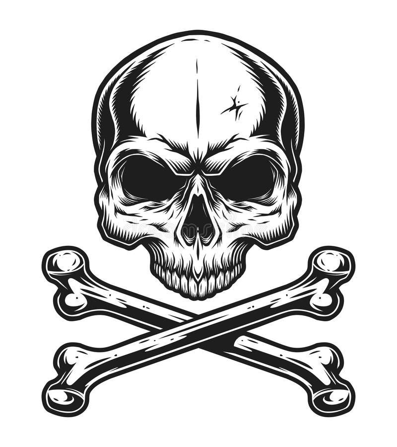 Molde do crânio do vintage e do monochrome dos ossos cruzados ilustração stock