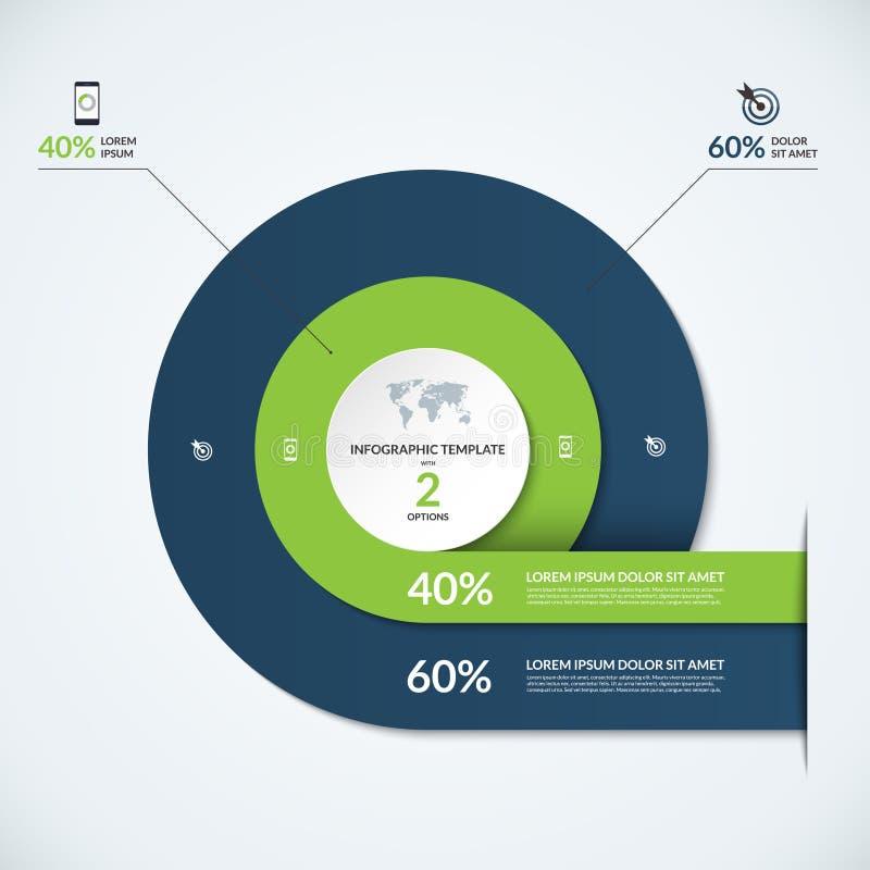 Molde do diagrama de Infographic com 3 opções ilustração stock