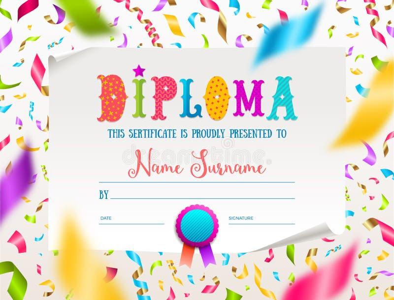 Molde do diploma das crianças para o jardim de infância, a escola, o pré-escolar ou o playschool ilustração royalty free