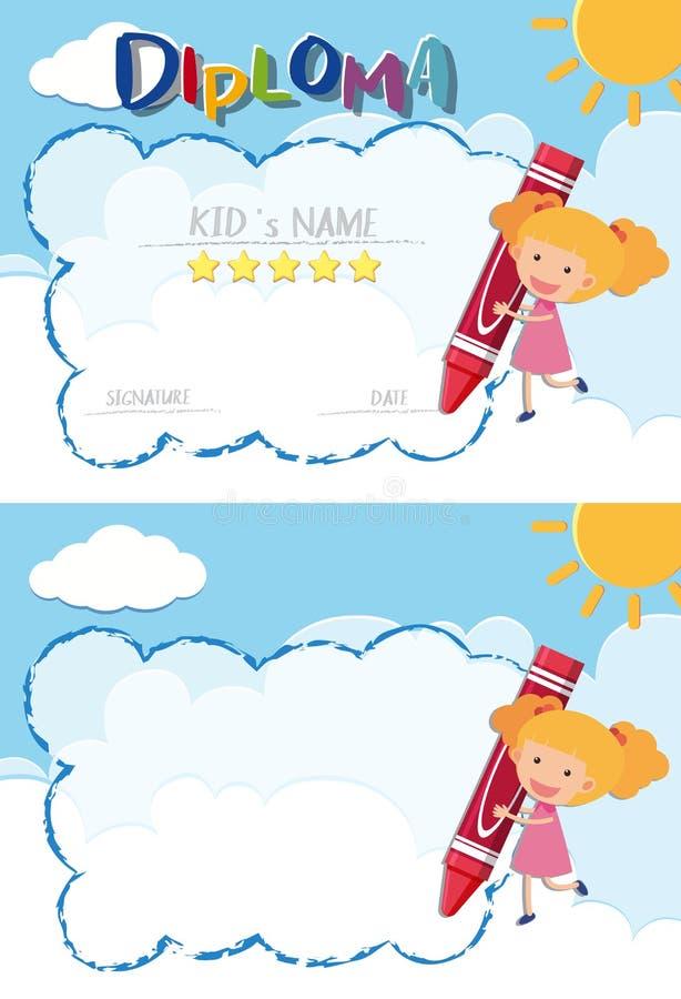 Molde do diploma e da beira com menina e o pastel vermelho ilustração do vetor