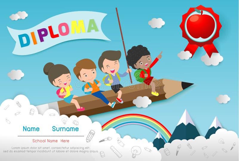 Molde do diploma para crianças, jardim de infância dos certificados e o molde elementar, pré-escolar do projeto do fundo do certi ilustração stock