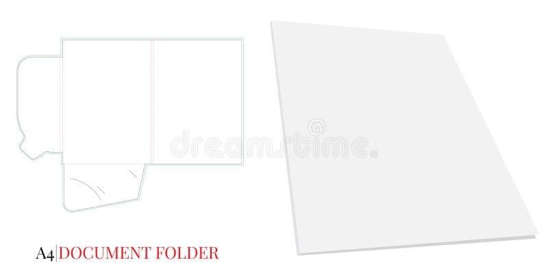 Molde A4 do dobrador do documento Vetor com linhas cortado/do laser corte ilustração do vetor
