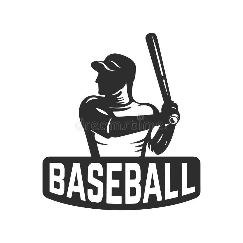Molde do emblema com jogador de beisebol Projete o elemento para o logotipo, etiqueta, emblema, sinal ilustração stock