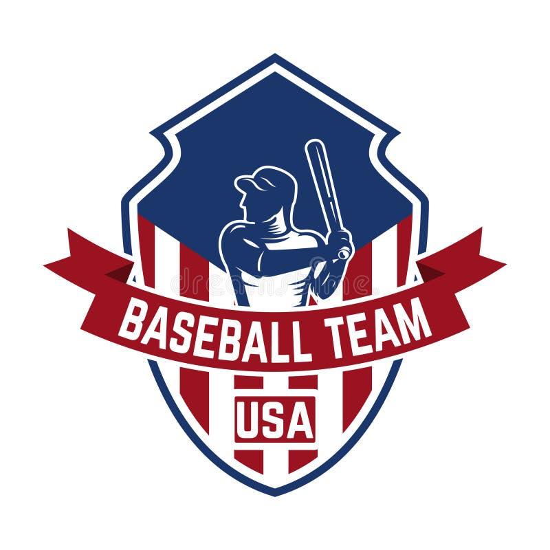Molde do emblema com jogador de beisebol Projete o elemento para o logotipo, etiqueta, emblema, sinal ilustração do vetor