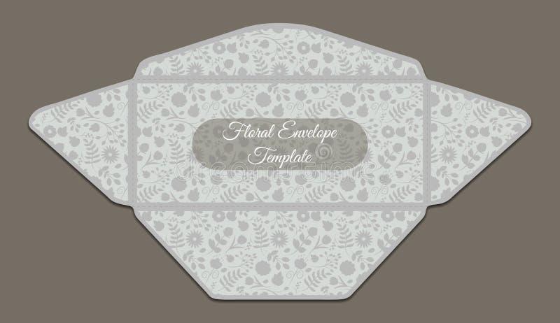 Molde do envelope com teste padrão floral ilustração royalty free