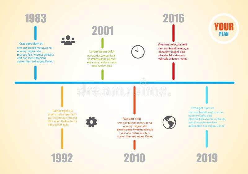 Molde do espaço temporal da história do marco miliário com informação para seu sucesso - vetor ilustração stock