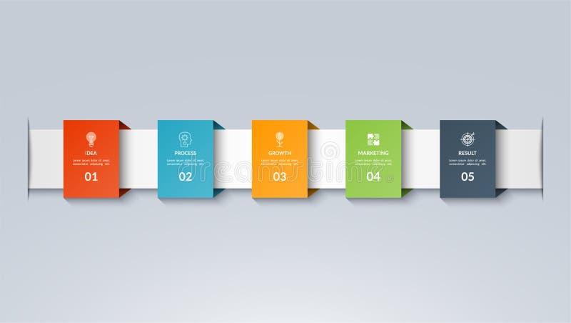 Molde do espaço temporal de Infographic Vector a bandeira com 5 opções, etapas, peças ilustração do vetor