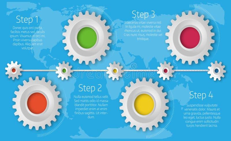Molde do espaço temporal de Infographics com as engrenagens coloridas realísticas para ilustração stock