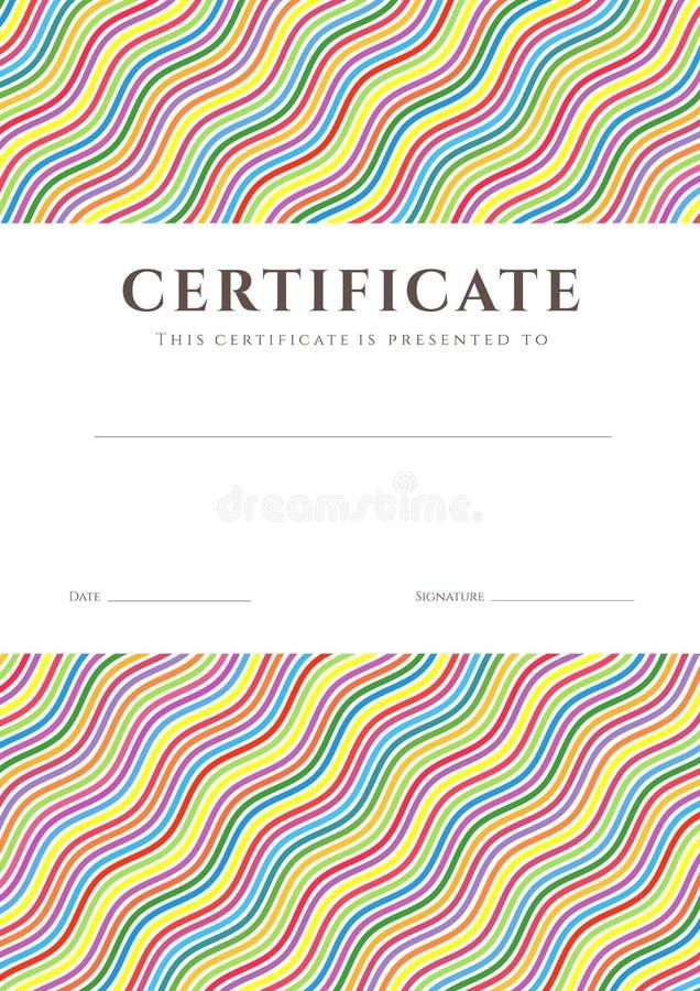 Molde do fundo colorido do certificado/diploma ilustração stock