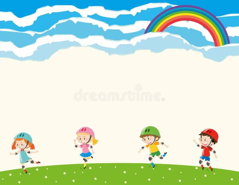 Molde do fundo com rollerskating das crianças ilustração stock