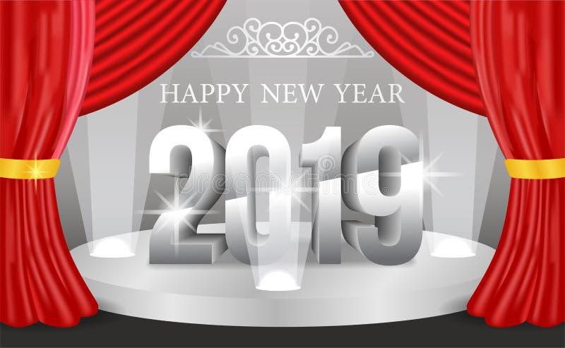 Molde do fundo da bandeira do ano novo feliz com número 3d de prata Ilustração do vetor ilustração royalty free