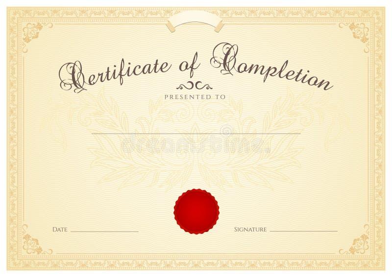 Molde do fundo do certificado/diploma. Floral ilustração stock