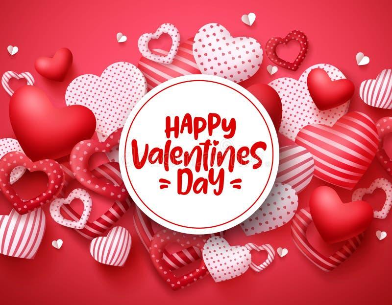 Molde do fundo dos corações do vetor do dia de Valentim Texto de cumprimento feliz do dia de Valentim ilustração royalty free